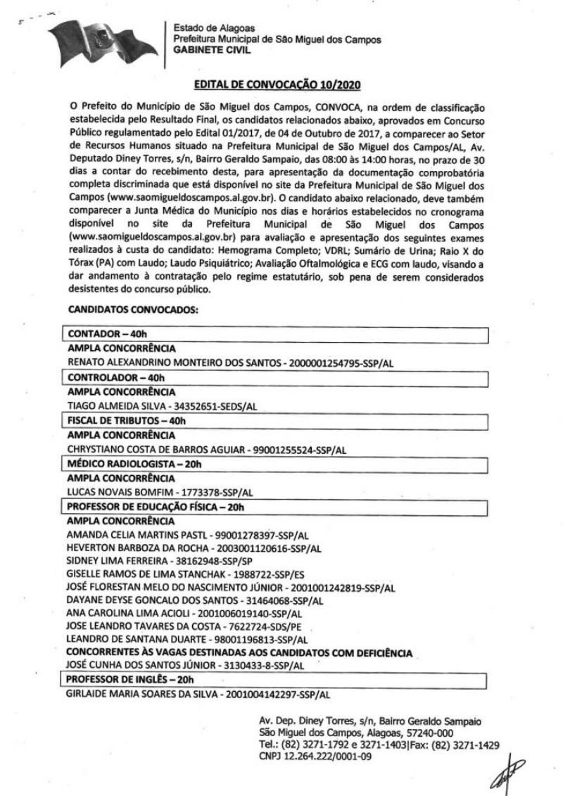 Aprovados em Concurso Público de São Miguel dos Campos -